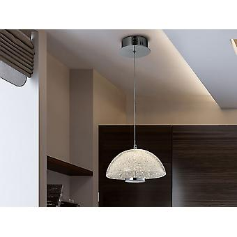 Schuller Lua - Lamp of 1 LED light, made of chromed metal and aluminium. Semi-spherical glass shade, with granulated glass texture inside. 10W LED.  700 lm.  4.000K. - 726124