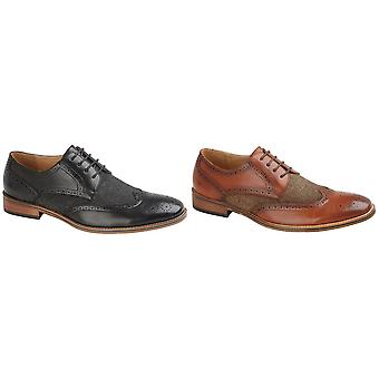 Goor Mens 4 Eye Leather Lined Brogue Gibson Shoe