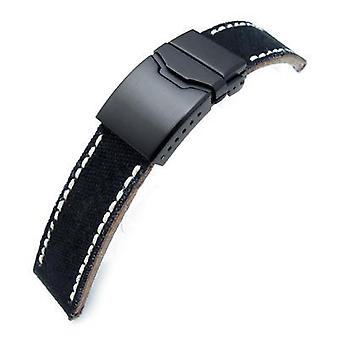 Strapcode fabric watch strap 22mm miltat black canvas watch strap brushed button chamfer clasp, pvd black, beige wax hand stitches