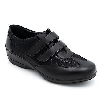 Padders Sadie Ladies Leather Wide (e/2e) Shoes Black Combi