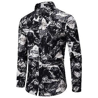 Allthemen Men's painettu pitkähihainen t-paita perinteinen mekko paita