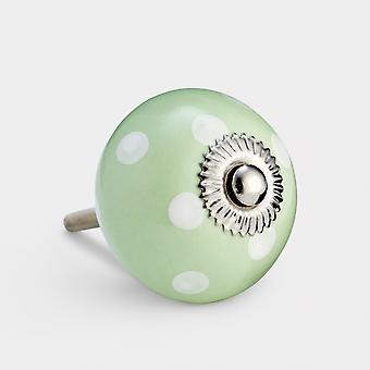 Maçaneta de porta cerâmica - Verde / Branco - Ponto