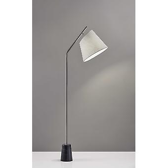 Brushed Steel Floor Lamp Black Marble Block Base and Angled White Linen Shade