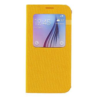 Alkuperäinen Samsung EF-CG920BYE S-view kirjan kansi kangassuojus Galaxy S6 keltainen