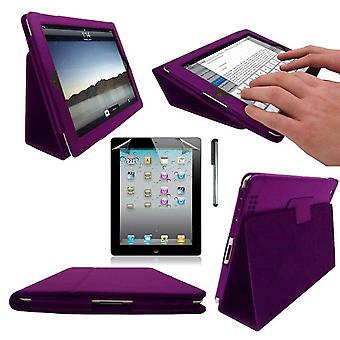 InventCase Apple iPad 2/3/4 9.7 inch Smart Multi-Functional PU piele cauza Cover - Purple
