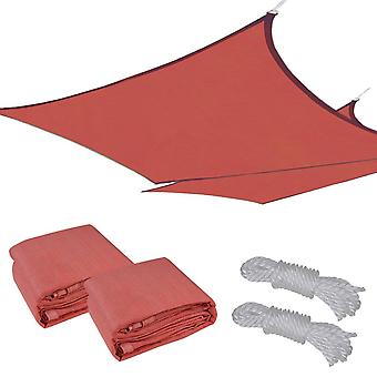 2pc 18x18' Square Sun Shade Sail Patio Deck Beach Garden Outdoor Canopy Cover UV Blocking (Dark Red)