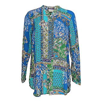 Joan Rivers Classics Collection Women's Top Patchwork Blouse Blue A366232