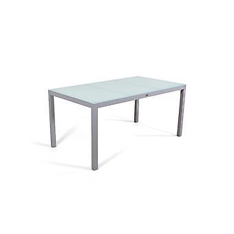 Alu Table à manger Verre dépoli 160 cm - gris soie