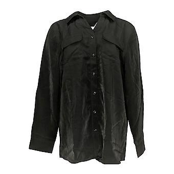 Denim & Co. Women's Top Roll Tab Sleeve Soft Utility Tunic Black A227885