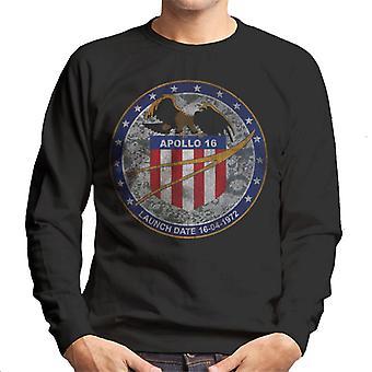 NASA Apollo 16 Mission Badge Distressed Men's Sweatshirt