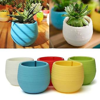 Mini Colourful Round Plastic Plant Flower Pot - Garden Home Office Decor Planter Desktop Flower Pots