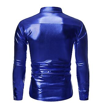 Mannen's Metallic Shiny Nightclub Slim Fit Long Sleeve Button Down Party Shirts
