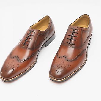Steptronic Neil Mens Leather Wide Fit Brogue Shoes Cognac