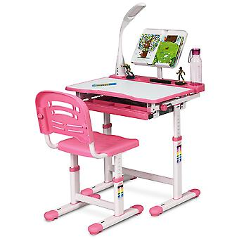Height Adjustable Kids Study Desk Table Chair Set Activity W/ Lamp Bookstand