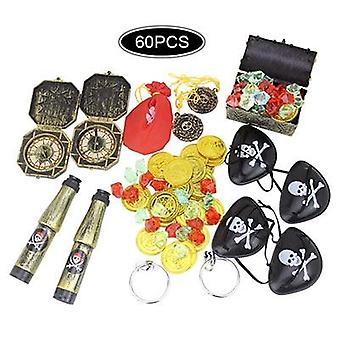 Pirate Treasure Hunting Game Props Gem Gold Coin Dress Up Set Toys (01)