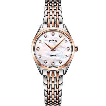 Roterende LB08012-41-D dame&ampos, ultra slank diamant armbåndsur