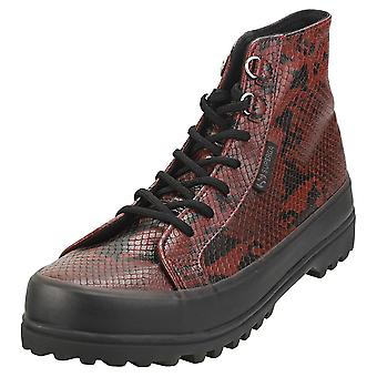 Superga 2314 Alpina Synsnakew Womens Casual Boots in Red Black