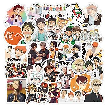 50stk / sæt Haikyuu-Klistermærker japanske Anime Sticker Volleyball For Decal On