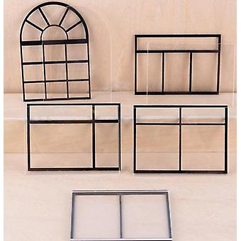 Acrylic Material Grids Miniature Doll House Window, Model Accessories (1 Random