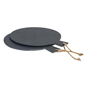 "Argon Tableware Rustic Slate Pizza Serving Platter with Rope - 13"" / 34cm - Pack of 2"
