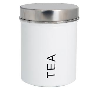 Contemporary Tea Canister - Steel Kitchen Storage Caddy with Rubber Seal - White