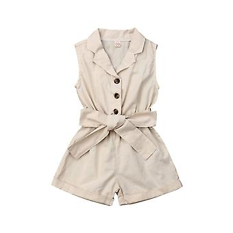Baby Girls Clothes Turn-down Collar Romper Solid Color Jumpsuit Overalls Children