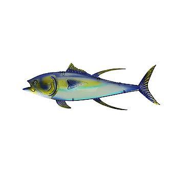 Metal and Glass Yellowfin Tuna Fish Wall Sculpture