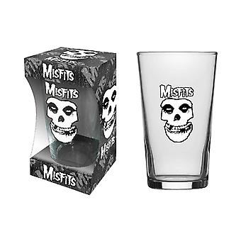 Misfits Pint Glass Skull Band Logo new Official Boxed