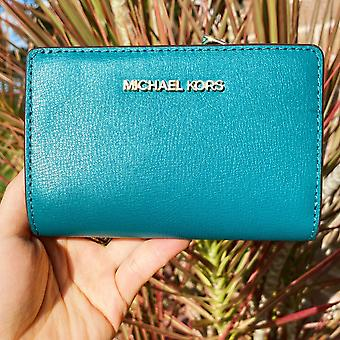 Michael kors jet set leather bifold zip coin wallet card holder aqua