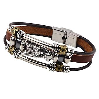 Vintage Leather Trendy Dragon Charming Bracelet Zinc Alloy Chain Bangle for Men