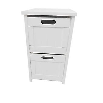 White Narrow 2 Chest of Drawer Bedside Table Cabinet (28x28x50cm)