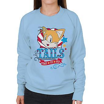 Sonic The Hedgehog Tails Blå Text tid att flyga kvinnor's Sweatshirt