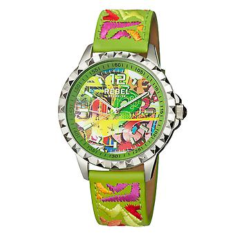 Rebel Women's Dumbo Lime Green Dial Leather Watch