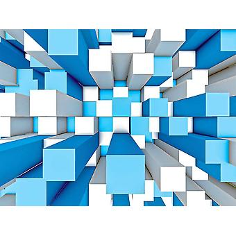 Wall Mural Abstrakt Mosaik Tredimensionell grå och blå bakgrund (43561127)