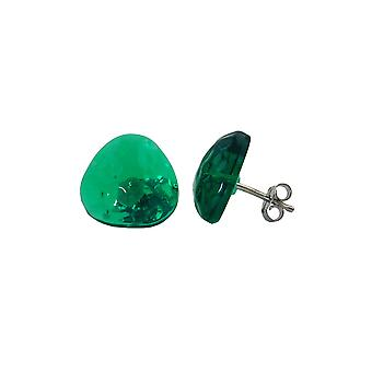Stud Earrings Green Transparent 14mm