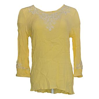 Belle by Kim Gravel Women's Top Embroidered Yellow A303578