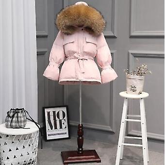 stor naturlig vaskebjørn pels hette vinterjakke, kvinner duck down jakker, tykk