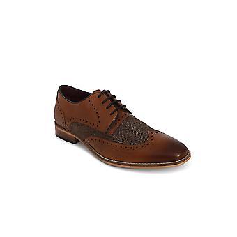 Cavani William Tan Tweed Brogue Leather Shoe