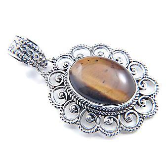 Amuleto de caneta de corrente prata 925 Sterling Silver Tiger Eye Brown Stone (Não: MAH 83-18)