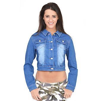 Faded Copped Denim Jacket - Blue