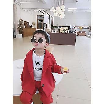 Boy Wedding Clothes Coat+pants, Kids Costume Stage Performance Host Shows Suits