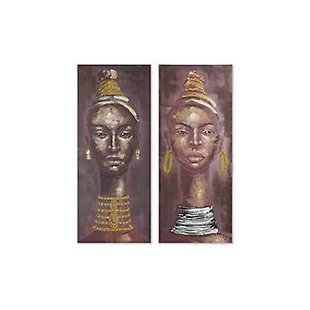 Painting Dekodonia Ethnic Lady Multicolour (2 pcs) (55 x 3 x 135 cm)