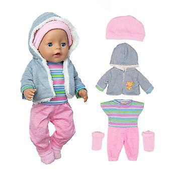 Sweater Suit+hat+scarf +gloves Doll Clothes, Born Baby Suit For Baby Birthday