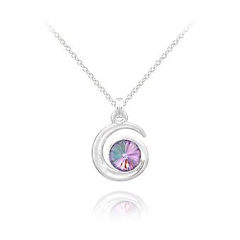 Silver moon  pendant necklace with lavender swarovski crystal