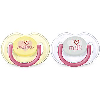 Avent Pacifiers Classic Texts 0 to 6 Months Girl 2 units