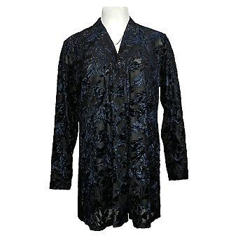 Susan Graver Women's Sweater Open Front Cardigan Noir A384258