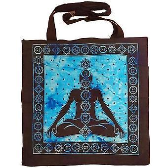Siete chakras avatar meditación tie dye mercado tote bolsa lienzo gráfico