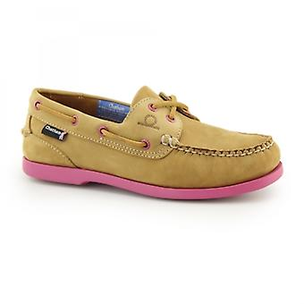Chatham Pippa Ii G2 Ladies Nubuck Leather Deck Shoes Tan/pink