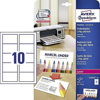 HanFei C32026-25 Premium Visitenkarten, blanko (250 fest, 270g, 85x54 mm, beidseitig bedruckbar,