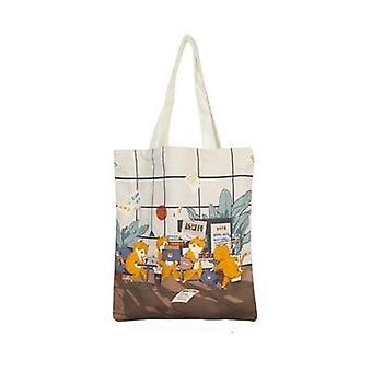 Lovely Illustration Series Canvas Bag Students Use Concise Style Tutorial Bag